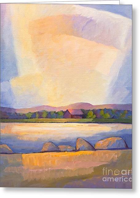 Evening Lights Paintings Greeting Cards - Evening Light Greeting Card by Lutz Baar