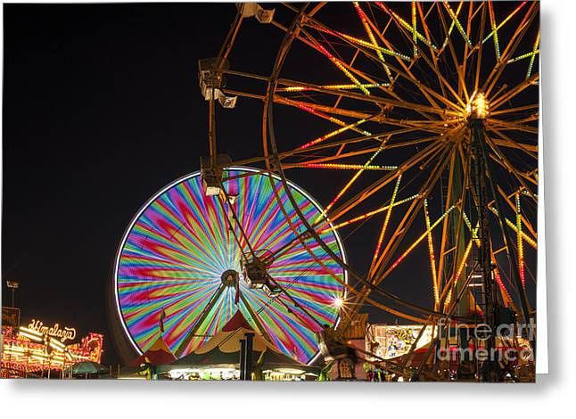 Amusements Greeting Cards - Evergreen State Fair with ferris wheel Greeting Card by Jim Corwin