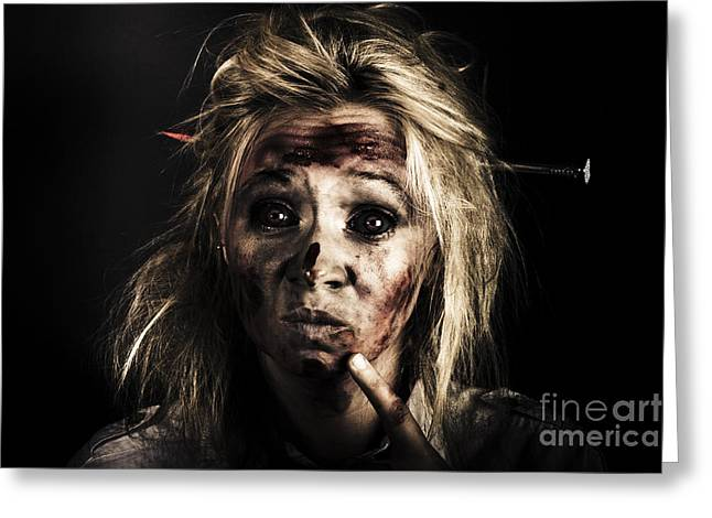 Souls Greeting Cards - Evil Dead Female Zombie With Monster Headache Greeting Card by Ryan Jorgensen