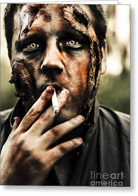 Smoking Book Greeting Cards - Evil dead zombie smoking cigarette outside Greeting Card by Ryan Jorgensen