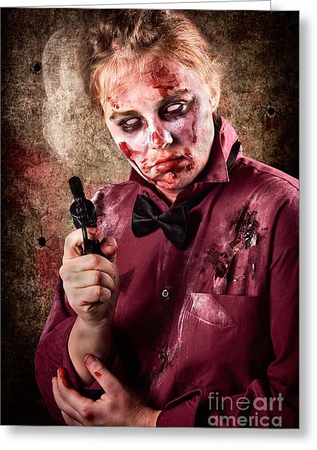 Portrait Of Evil Greeting Cards - Evil demented zombie holding hand gun. Robbery Greeting Card by Ryan Jorgensen