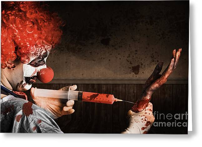 Scary Clown Greeting Cards - Evil Healthcare clown holding needle and syringe Greeting Card by Ryan Jorgensen
