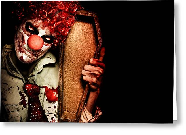 Executioner Greeting Cards - Evil Horrible Clown Holding Coffin In Darkness Greeting Card by Ryan Jorgensen