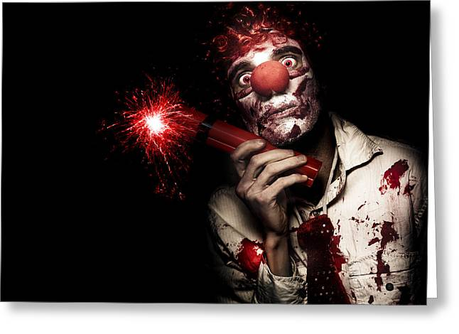 Terrorism Greeting Cards - Evil Male Business Clown Holding Explosive Bomb Greeting Card by Ryan Jorgensen