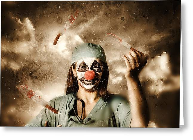 Scary Clown Greeting Cards - Evil surgeon clown juggling bloody knives outside Greeting Card by Ryan Jorgensen