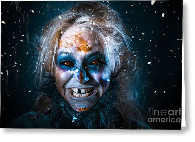Yeti Greeting Cards - Evil winter monster smiling beneath falling snow Greeting Card by Ryan Jorgensen