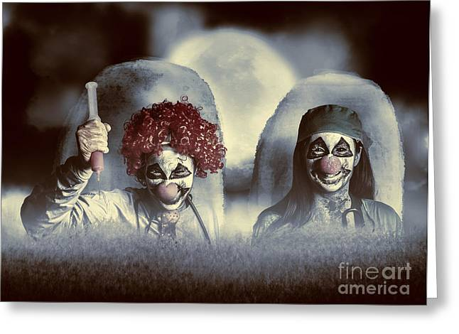 Evil Zombie Clown Doctors Rising From The Dead Greeting Card by Jorgo Photography - Wall Art Gallery