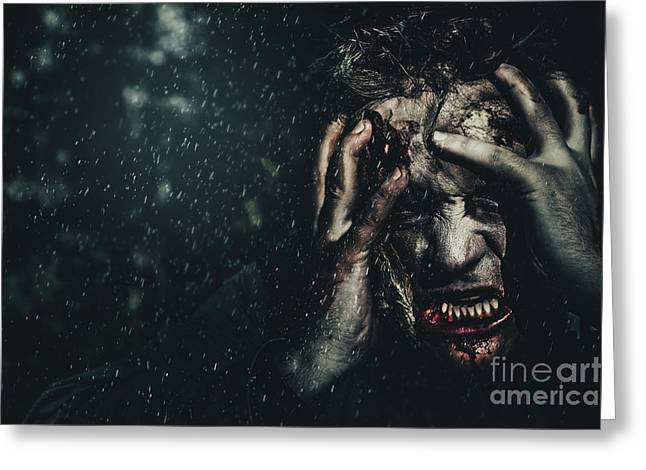 Night Terror Greeting Cards - Evil zombie man in fear at dark haunted forest Greeting Card by Ryan Jorgensen