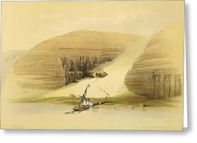 Ancient Drawings Greeting Cards - Excavated Temple Of Abu Simbel Greeting Card by David Roberts