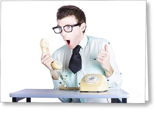 On The Phone Greeting Cards - Excited businessman with phone Greeting Card by Ryan Jorgensen