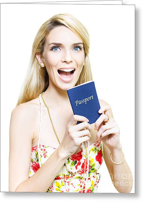 Youthful Greeting Cards - Excited woman clutching a passport Greeting Card by Ryan Jorgensen
