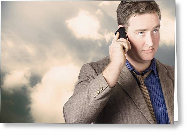 Cellphone Greeting Cards - Executive business man on cell phone outdoors Greeting Card by Ryan Jorgensen