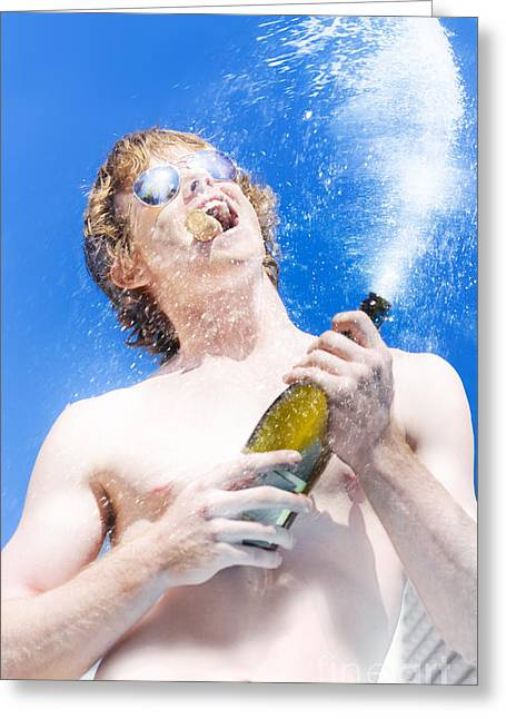 Machismo Greeting Cards - Exploding Champagne Spray Greeting Card by Ryan Jorgensen