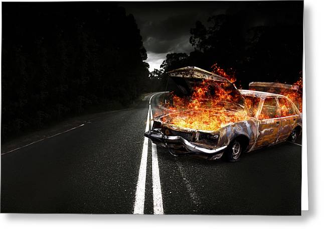 Engulfing Greeting Cards - Explosive Car Bomb Greeting Card by Ryan Jorgensen