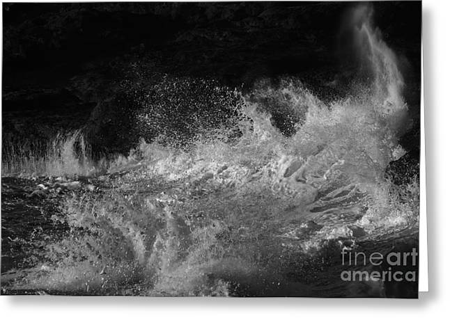 Ocean Spray Greeting Cards - Explosive Greeting Card by Mike  Dawson