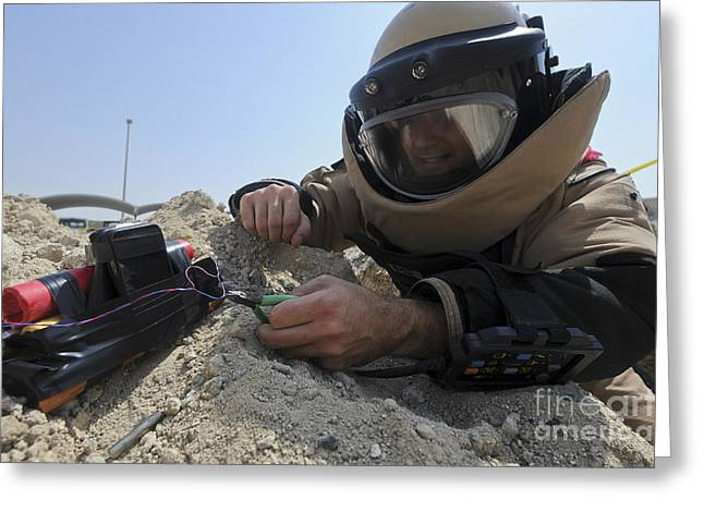 Safety Gear Greeting Cards - Explosive Ordnance Disposal Technician Greeting Card by Stocktrek Images