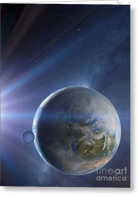 Super Stars Greeting Cards - Extrasolar Earth-like Planet, Artwork Greeting Card by Detlev van Ravenswaay