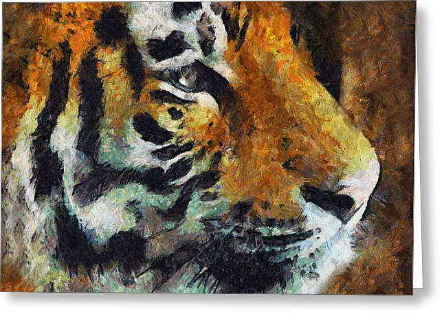 The Tiger Mixed Media Greeting Cards - Eye Of The Tiger Greeting Card by Georgiana Romanovna