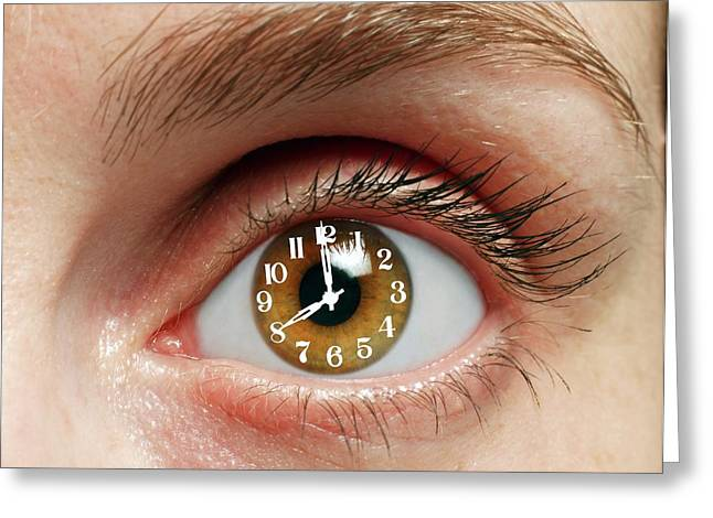Eye With Clock Greeting Card by Victor De Schwanberg