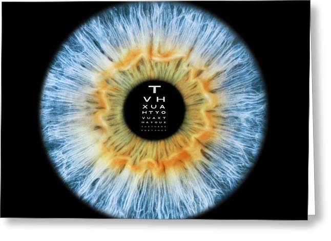 Eyesight Greeting Cards - Eyesight test, conceptual image Greeting Card by Science Photo Library