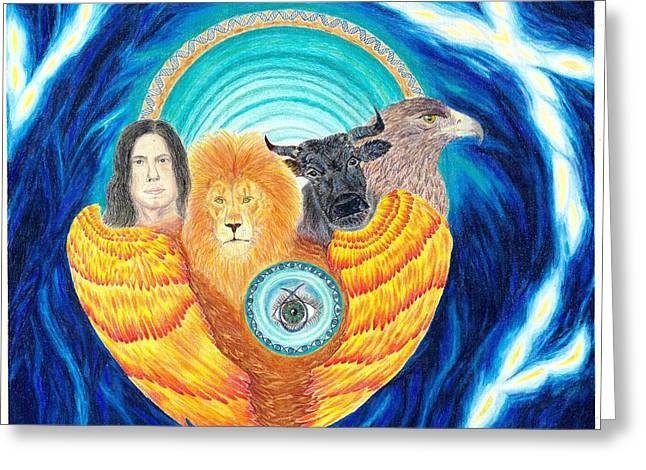 Ezekiel Greeting Cards - Ezekiel living creatures Greeting Card by Melinda Holland