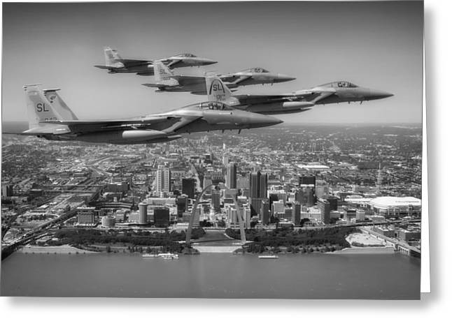 Airpower Greeting Cards - F-15Cs over St Louis Greeting Card by Mountain Dreams
