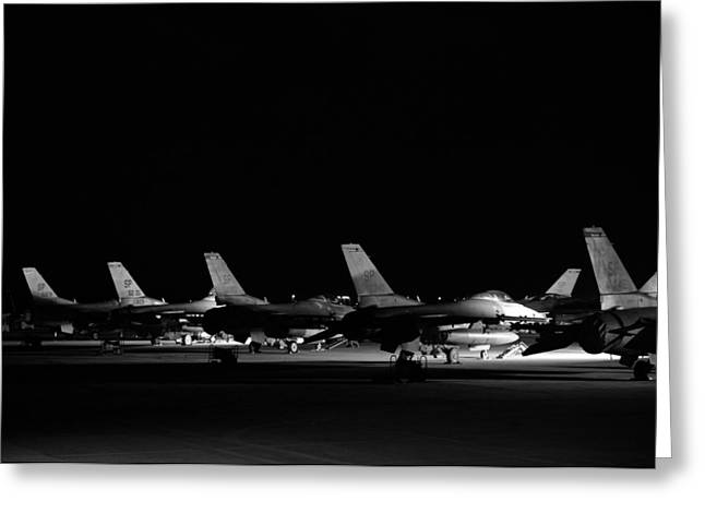 Airpower Greeting Cards - F-16 Lineup Greeting Card by Mountain Dreams