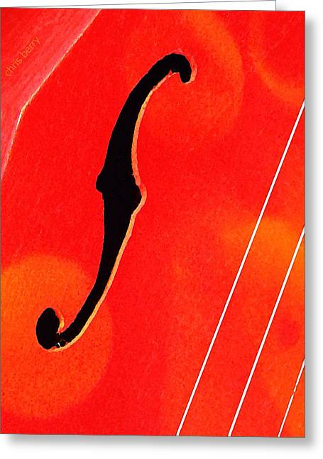 Resonator Greeting Cards - F Hole Abstract Greeting Card by Chris Berry