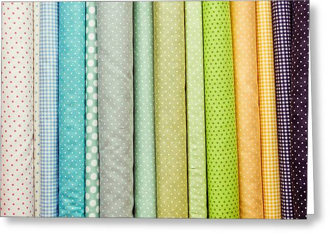 Tailor Greeting Cards - Fabric colours Greeting Card by Tom Gowanlock