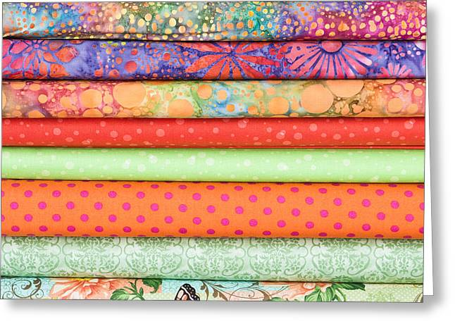 Flowery Greeting Cards - Fabric rolls Greeting Card by Tom Gowanlock
