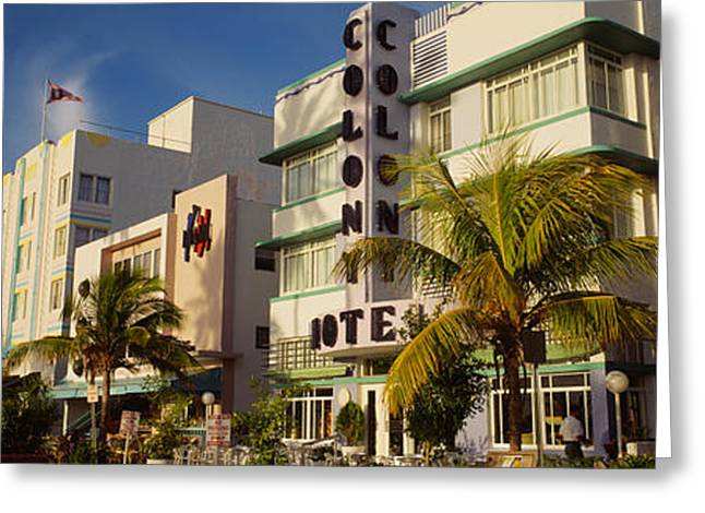 Ocean Art Photography Greeting Cards - Facade Of A Hotel, Art Deco Hotel Greeting Card by Panoramic Images