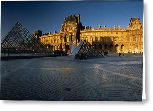 Pyramids Greeting Cards - Facade Of A Museum, Musee Du Louvre Greeting Card by Panoramic Images