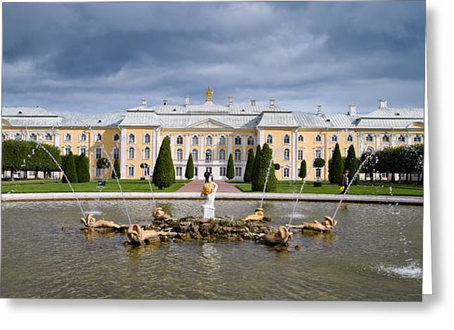 Commonwealth Of Independent States Greeting Cards - Facade Of A Palace, Peterhof Grand Greeting Card by Panoramic Images