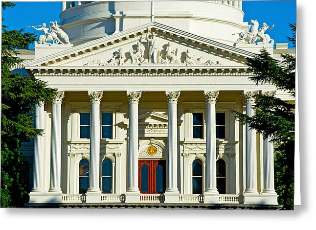 Capitol Greeting Cards - Facade Of The California State Capitol Greeting Card by Panoramic Images