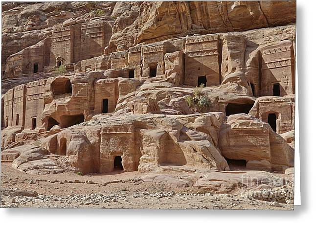 Kultur Greeting Cards - facade street in Nabataean ancient town Petra Greeting Card by Juergen Ritterbach
