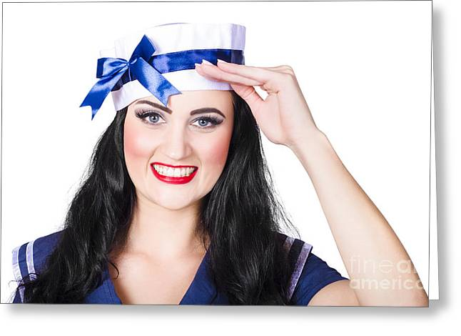Face Of A Cute Pinup Girl Saluting In Sailor Style Greeting Card by Jorgo Photography - Wall Art Gallery