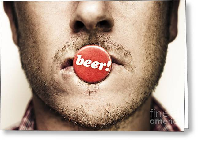 Urge Greeting Cards - Face Of A Man With Beer Badge Greeting Card by Ryan Jorgensen