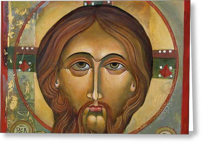 Face Of Christ Greeting Card by Mary jane Miller