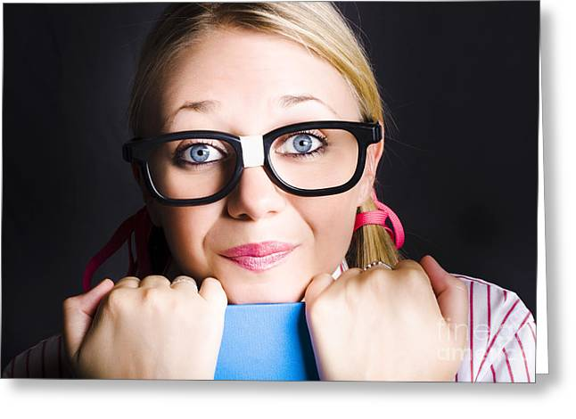 Clever Greeting Cards - Face of smart schoolgirl holding textbook on black Greeting Card by Ryan Jorgensen