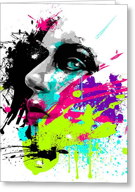 Splatter Greeting Cards - Face Paint 2 Greeting Card by Jeremy Scott