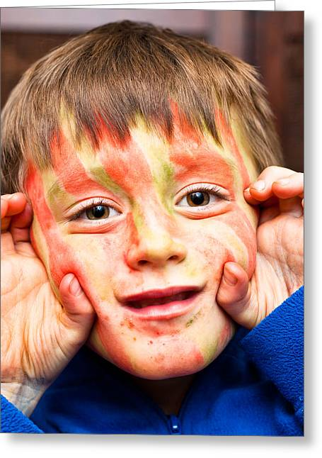 Innocence Greeting Cards - Face paint Greeting Card by Tom Gowanlock