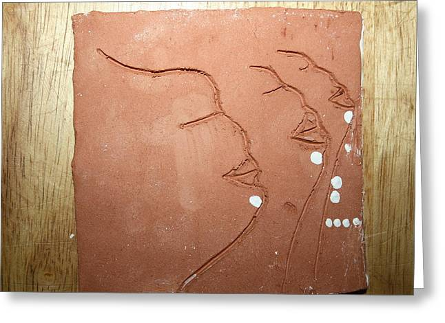 Ugandan Ceramicist Ceramics Greeting Cards - Faces - tile Greeting Card by Gloria Ssali