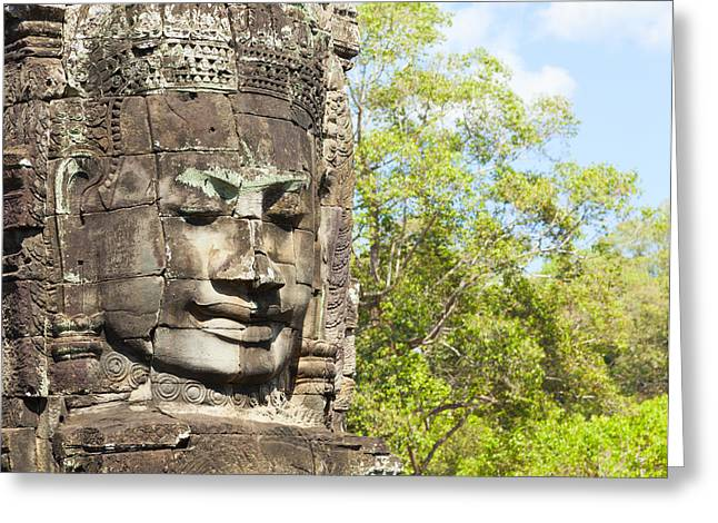 Weathered Rock Face Greeting Cards - Faces of Bayon temple Greeting Card by Alexey Stiop