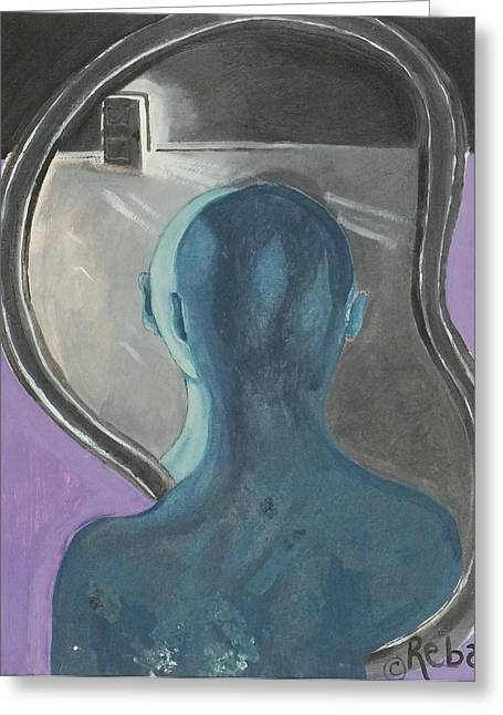 Man In The Mirror Greeting Cards - Facing Fears Greeting Card by Reba Baptist