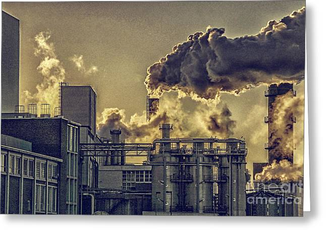 Factory Fumes Greeting Card by Patricia Hofmeester