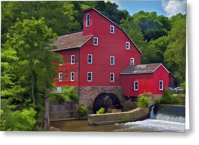 Red Mill Historic Village Greeting Cards - Faded Red Water Mill on the Dam of the Raritan River Greeting Card by David Letts