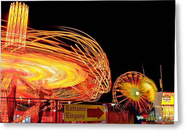 Exposure Pastels Greeting Cards - Fair rides Greeting Card by Bryan Hildebrandt