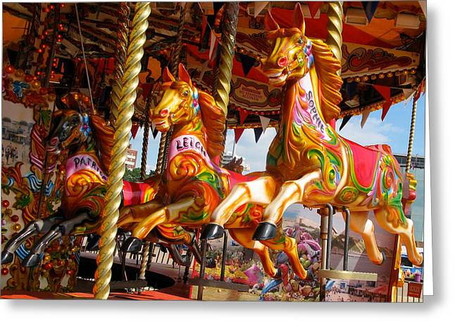Galloper Greeting Cards - Fairground Carousel Gallopers Greeting Card by Roger Burton