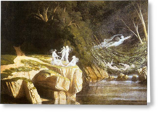 Fairies by a Rocky Stream Greeting Card by Francis Danby