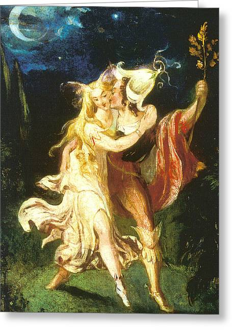 Farries Greeting Cards - Fairy Lovers Greeting Card by Theodore Von Holst